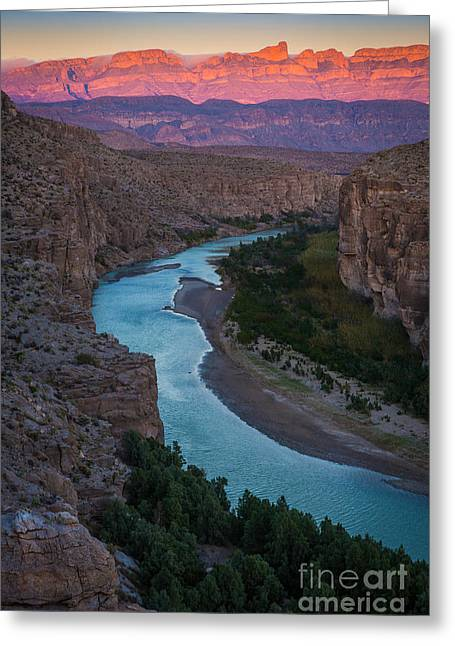 Del Rio Texas Greeting Cards - Bend in the Rio Grande Greeting Card by Inge Johnsson