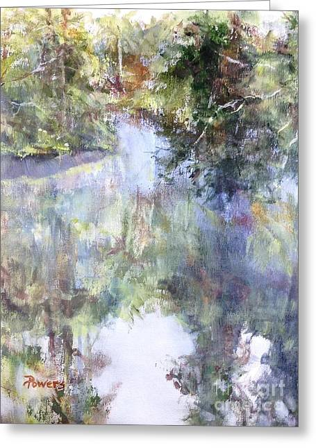 Reflections In River Greeting Cards - Bend in the River Greeting Card by Mary Lynne Powers