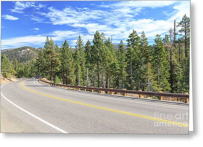 Tahoe National Forest Greeting Cards - Bend in the Road Greeting Card by Jannis Werner
