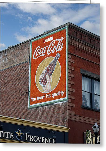 Decorative Greeting Cards - Bend Oregon Coke Sign Greeting Card by Gary Grayson
