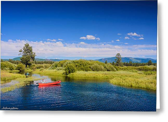 Boats On Water Digital Greeting Cards - Bend Sunriver Thousand Trails Oregon Greeting Card by  Bob and Nadine Johnston
