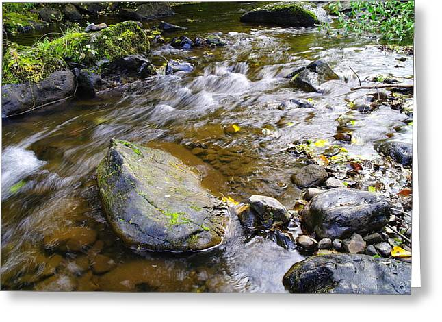 Water Movement Greeting Cards - Bending Between The Rocks Greeting Card by Jeff  Swan
