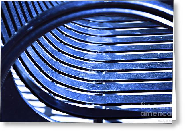 Stein Greeting Cards - Bending Blue Greeting Card by Nancy E Stein