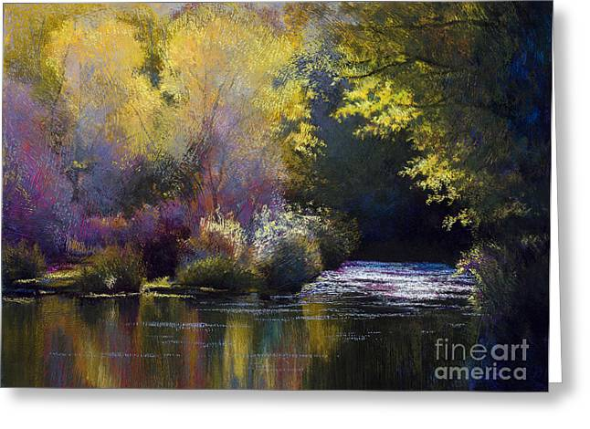 Reflections Of Sun In Water Paintings Greeting Cards - Bending With The River Greeting Card by Vicky Russell