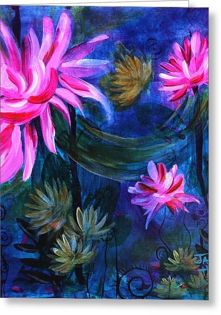 Indiana Flowers Paintings Greeting Cards - Beneath Dark Lotus Waters Greeting Card by Jaime Haney