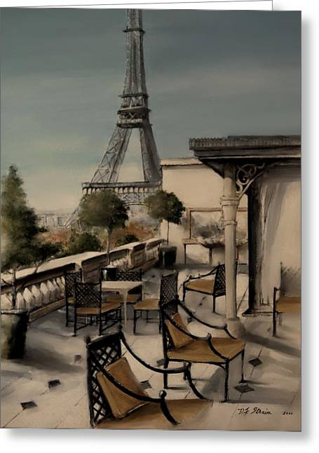 Table Wine Mixed Media Greeting Cards - Beneath the Tower   Number 1 Greeting Card by Diane Strain