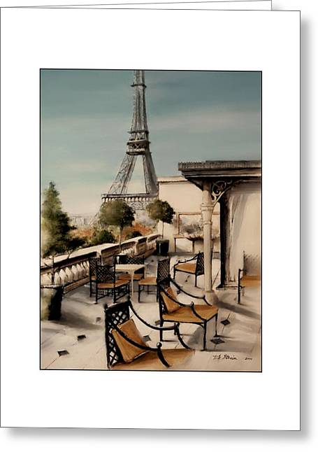 Table Wine Mixed Media Greeting Cards - Beneath the Tower   Number 10 Greeting Card by Diane Strain