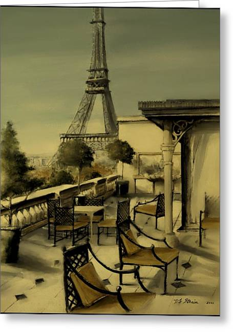 Table Wine Mixed Media Greeting Cards - Beneath the Tower   Number 2 Greeting Card by Diane Strain
