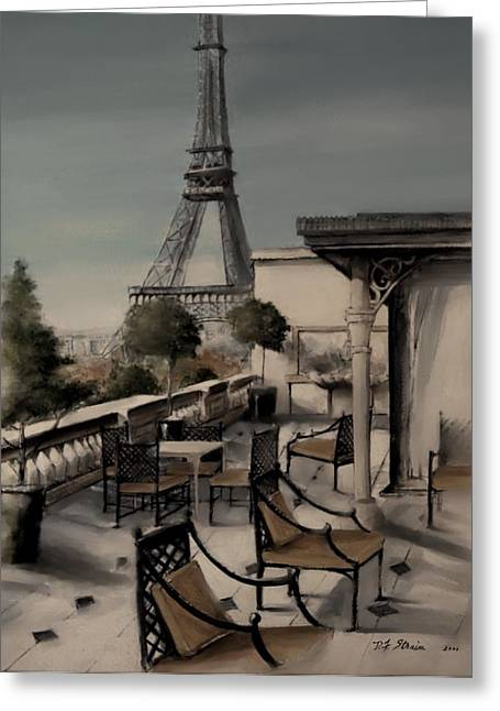 Table Wine Mixed Media Greeting Cards - Beneath the Tower   Number 7 Greeting Card by Diane Strain