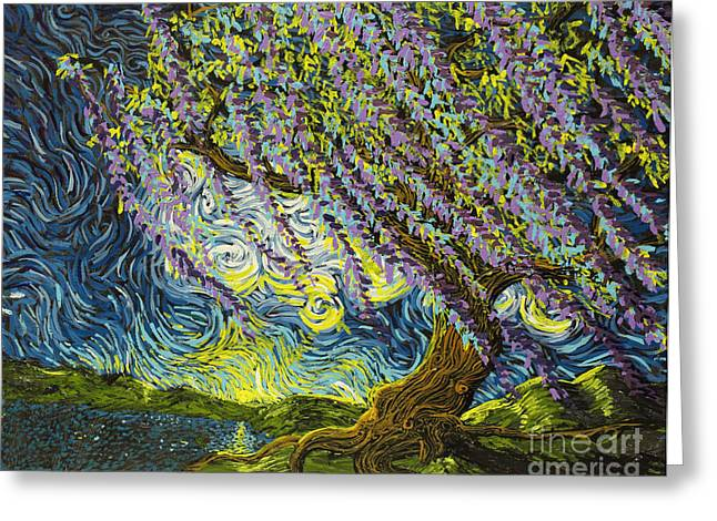 Squiggleism Greeting Cards - Beneath The Willow Greeting Card by Stefan Duncan