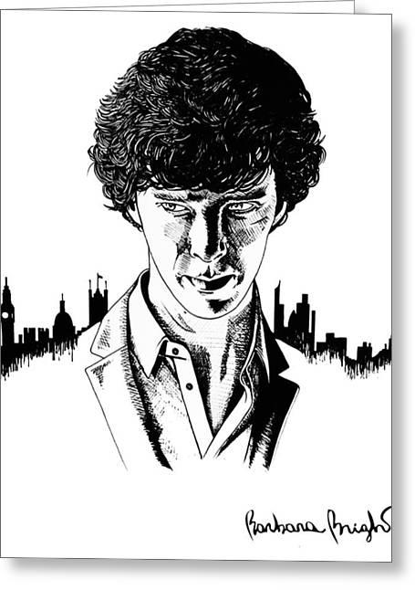 Hyperrealism Drawings Greeting Cards - Benedict Cumberbatch as Sherlock Greeting Card by Barbara Bright