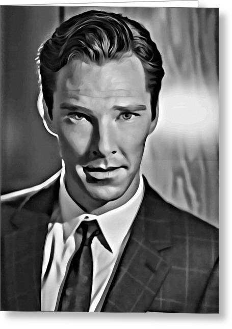 Benedict Greeting Cards - Benedict Cumberbatch Portrait Greeting Card by Florian Rodarte