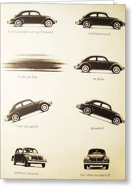 Benefits Of A Volkwagen Greeting Card by Georgia Fowler