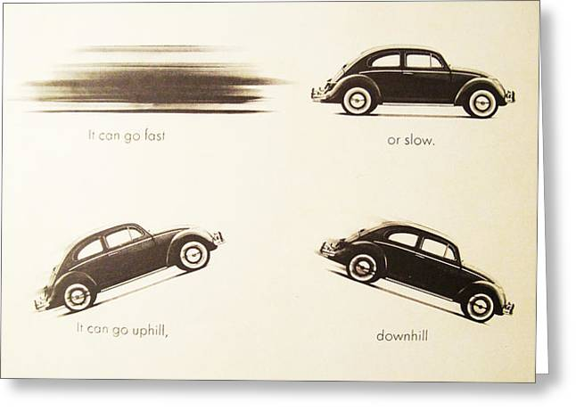 Benefits of a Volkwagen Greeting Card by Nomad Art And  Design