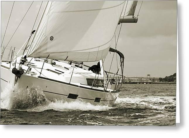 45 Greeting Cards - Beneteau Oceanis 45 Hull #1 Greeting Card by Dustin K Ryan