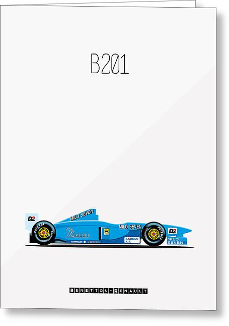 Catalunya Digital Greeting Cards - Benetton Renault B201 F1 Greeting Card by Florian Rodarte
