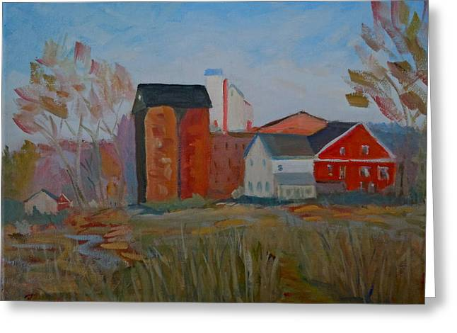 Feed Mill Paintings Greeting Cards - Benfields Mill Greeting Card by Francine Frank