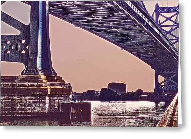 Downtown Franklin Greeting Cards - BenFranklin Bridge 2 Greeting Card by Tom Gari Gallery-Three-Photography