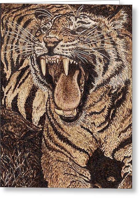 Woodburnings Pyrography Greeting Cards - Bengal Tiger Greeting Card by Vera White