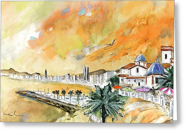 Playa Blanca Greeting Cards - Benidorm Old Town Greeting Card by Miki De Goodaboom