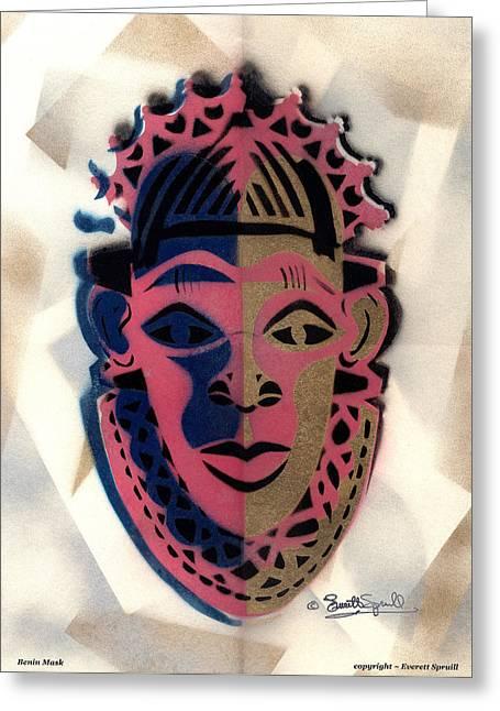 Everett Spruill Mixed Media Greeting Cards - Benin Mask 1997 Greeting Card by Everett Spruill