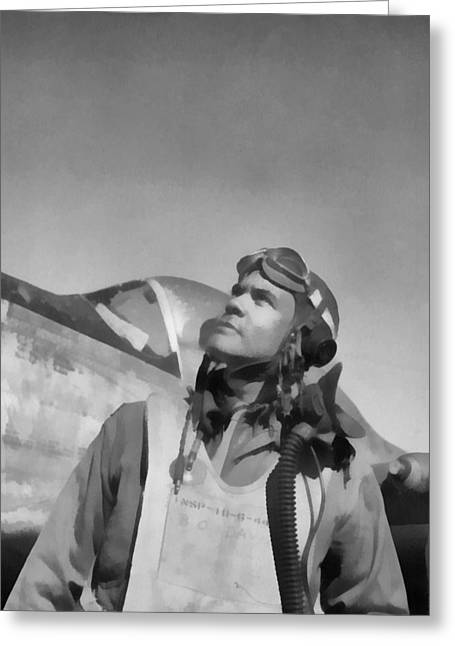 World War 2 Airmen Greeting Cards - Benjamin Davis Tuskegee Airmen Greeting Card by Dan Sproul