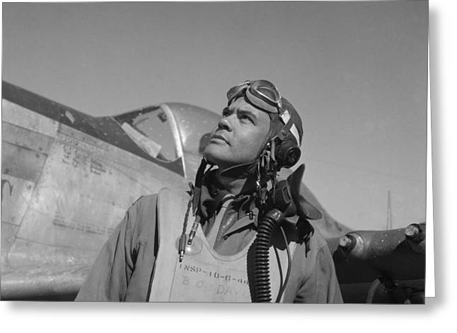 World War 2 Airmen Greeting Cards - Benjamin Davis - WW2 Tuskegee Airmen Greeting Card by War Is Hell Store