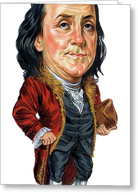 Awesome Greeting Cards - Benjamin Franklin Greeting Card by Art