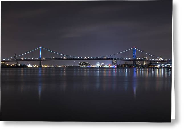Treaty Greeting Cards - Benjamin Franklin Bridge at Night from Penn Treaty Park Greeting Card by Bill Cannon