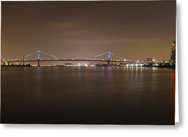 Treaty Greeting Cards - Benjamin Franklin Bridge at Night Panorama Greeting Card by Bill Cannon