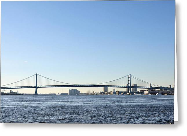 Treaty Greeting Cards - Benjamin Franklin Bridge from Penn Treaty Park Greeting Card by Bill Cannon