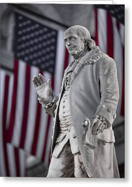 Historic Statue Digital Art Greeting Cards - Benjamin Franklin Greeting Card by Eduard Moldoveanu
