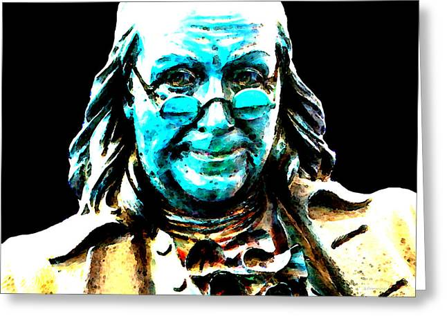 Figure Digital Art Greeting Cards - Benjamin Franklin - Historic Figure Pop Art By Sharon Cummings Greeting Card by Sharon Cummings