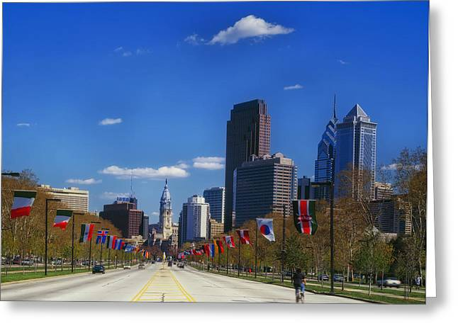 Downtown Franklin Greeting Cards - Benjamin Franklin Parkway in Philadelphia Greeting Card by Mountain Dreams