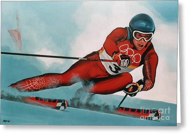 Ski Art Greeting Cards - Benjamin Raich Greeting Card by Paul  Meijering