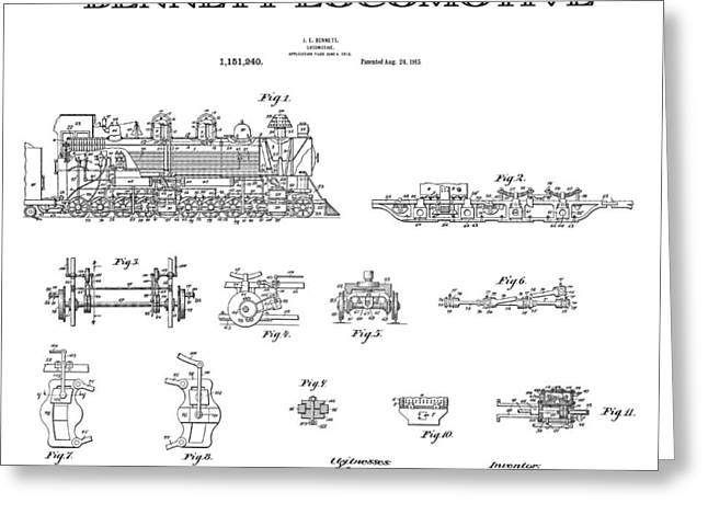 Historical Blueprint Greeting Cards - Bennett Locomotive Patent Art  1915 Greeting Card by Daniel Hagerman