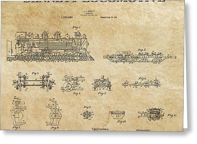 Historical Blueprint Greeting Cards - Bennett Locomotive Patent Art Aged  1915 Greeting Card by Daniel Hagerman