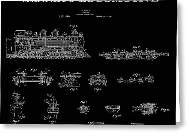 Historical Blueprint Greeting Cards - Bennett Locomotive Patent Art Black 1915 Greeting Card by Daniel Hagerman