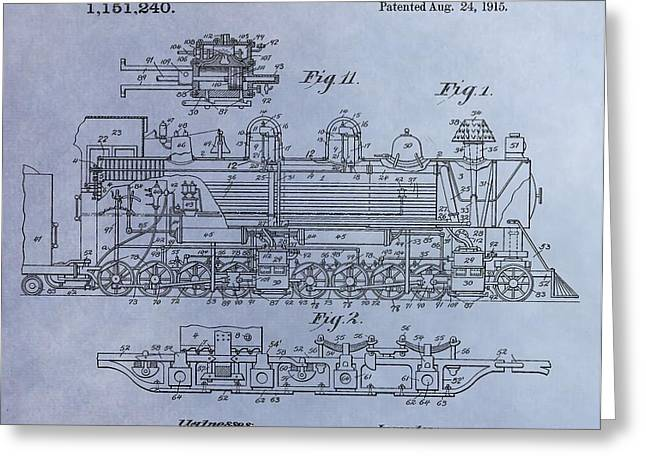 Caboose Greeting Cards - Bennett Locomotive Patent Greeting Card by Dan Sproul