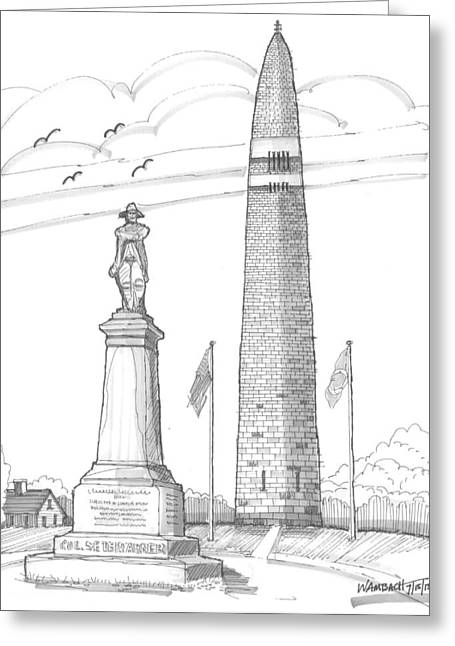 Revolutionary War Drawings Greeting Cards - Bennington Battle Monuments Greeting Card by Richard Wambach