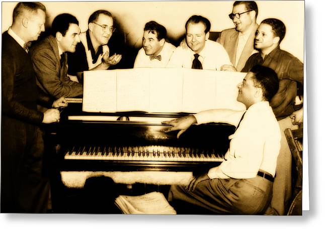 1950s Music Photographs Greeting Cards - Benny Goodman and Band 1952 Greeting Card by Mountain Dreams