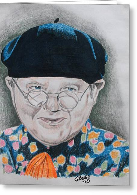 British Celebrities Drawings Greeting Cards - Benny Hill Greeting Card by Jeremy Moore