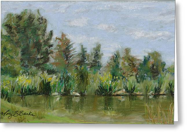 Nature Scene Pastels Greeting Cards - Benson Sculpture Park Greeting Card by Mary Benke