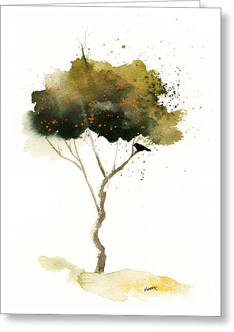 Splashy Art Greeting Cards - Bent Tree With Blackbird Greeting Card by Vickie Sue Cheek