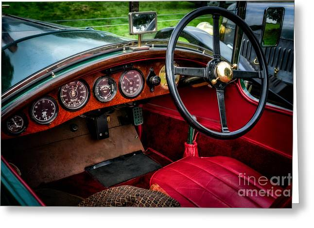 Steering Greeting Cards - Bentley 3 Litre Greeting Card by Adrian Evans