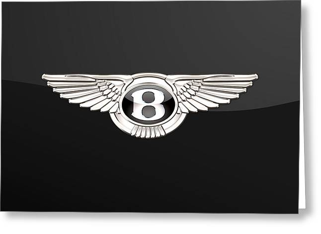 Historical Car Greeting Cards - Bentley - 3D Badge on Black Greeting Card by Serge Averbukh