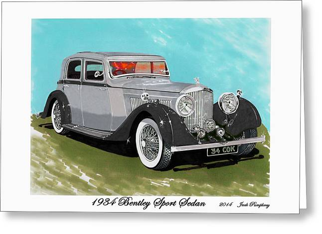 Continuing Greeting Cards - Bentley Sport Sedan 1934 Greeting Card by Jack Pumphrey