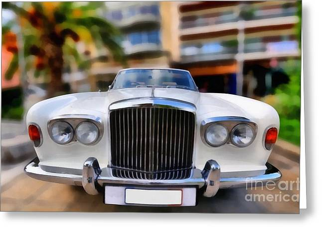 White Greeting Cards - 1975 Bentley T Series Corniche Convertible Greeting Card by George Atsametakis