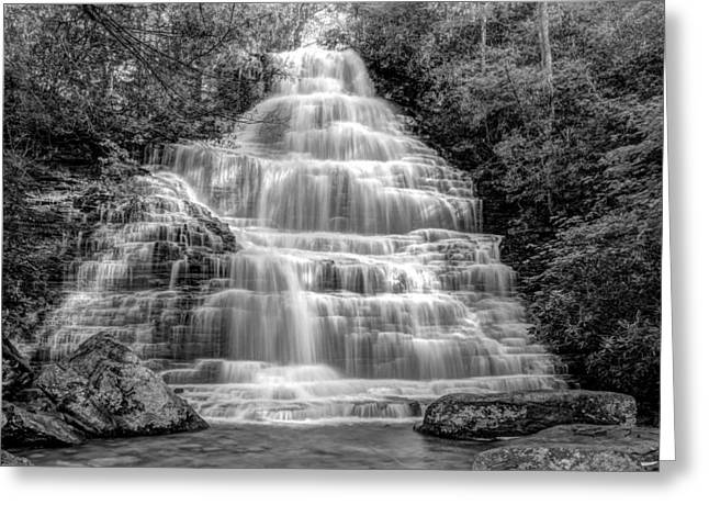 White River Scene Greeting Cards - Benton Falls in Black and White Greeting Card by Debra and Dave Vanderlaan