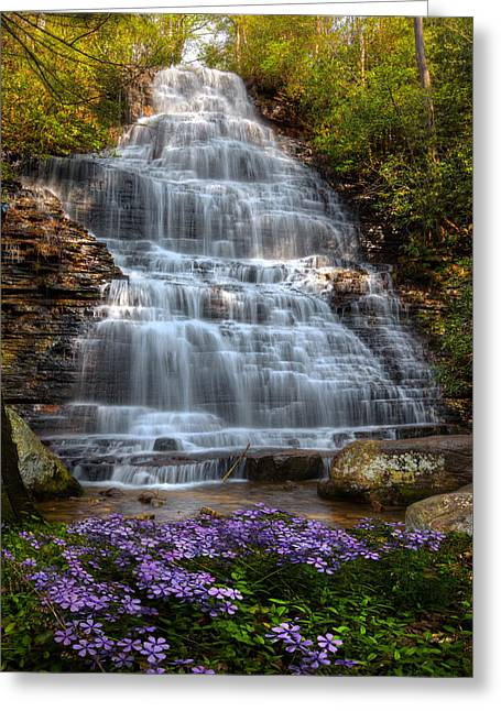 Tennessee River Greeting Cards - Benton Falls in Spring Greeting Card by Debra and Dave Vanderlaan